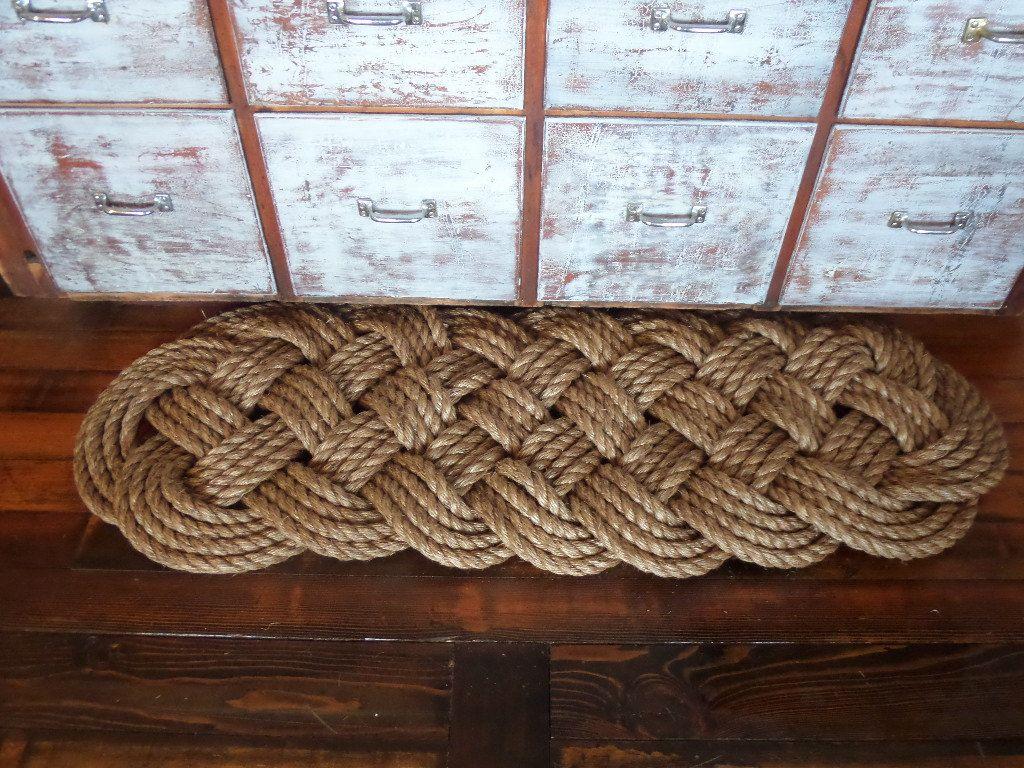 Beautiful 48 X 18 Manila Large Door Mat Knotted Rope Rug Natural Tan Nautical Beach Rustic Marine Ocean