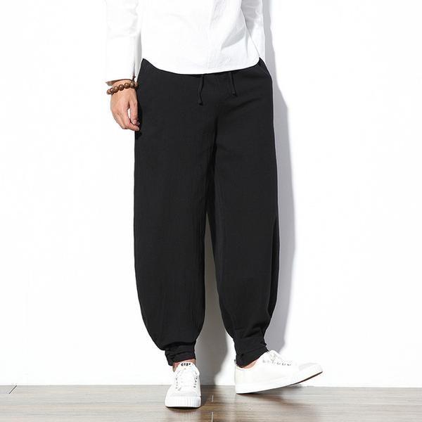 2257c4b48e9 Cotton Linen Harem Pants Men Jogger Pants Male Trousers Chinese Traditional  Cloths Belts Plus Size