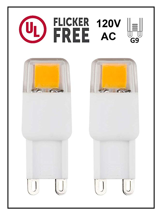 Cbconcept Ul Listed G9 Led Light Bulb 2 Pack Epistar Cob 1 7 Watt 220 Lumen Not Dimmable Pure White 6000k 360 Beam Angle Led Light Bulb Bulb Light Bulb