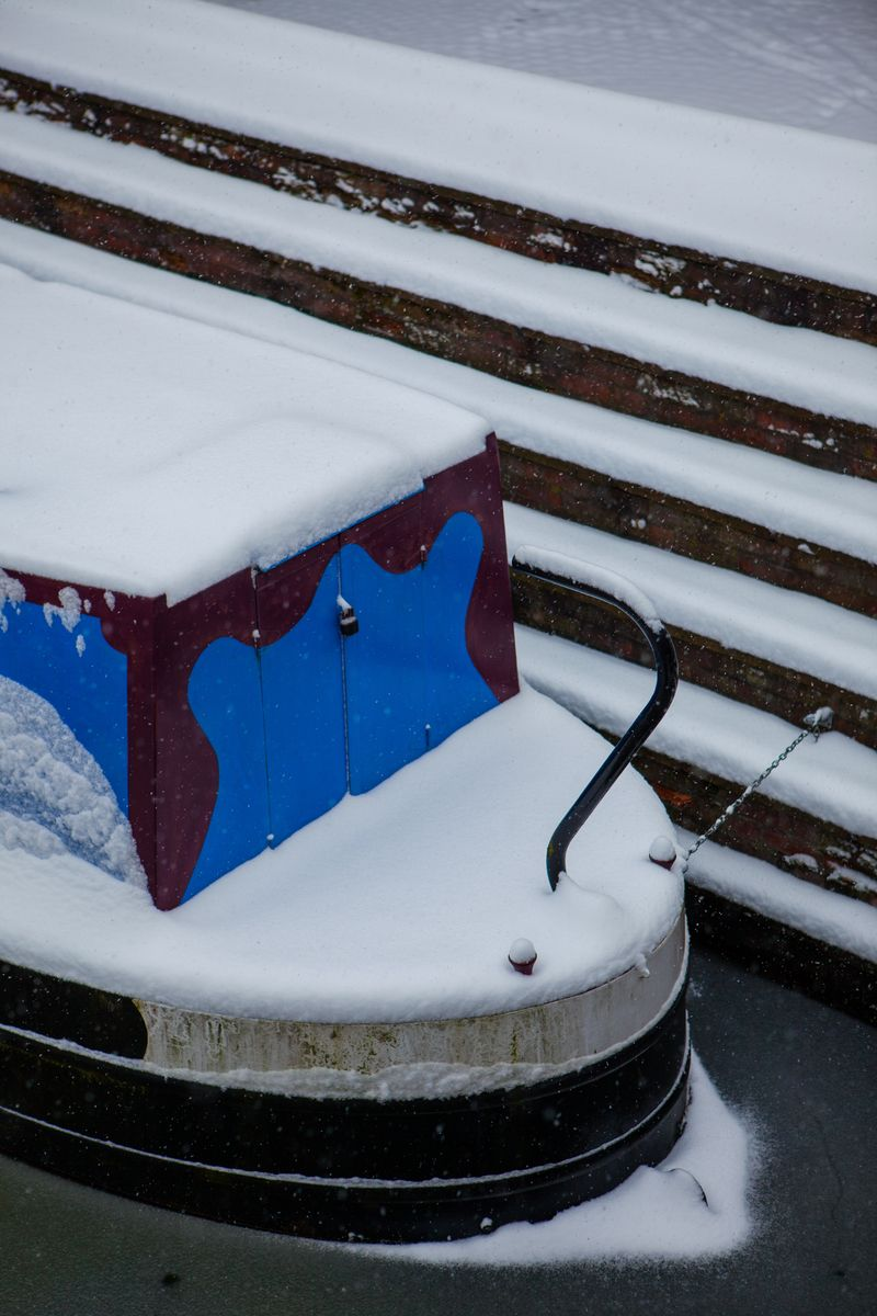 Canal boat from Birmingham in Snow. Canal boat