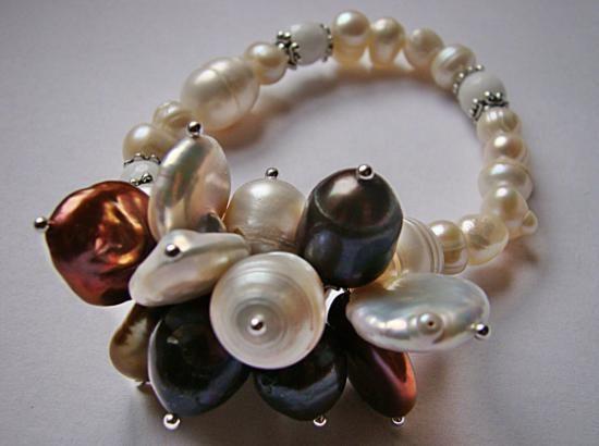 pulsera detalles by bee 2013 perlas de río,coral blanco enfilado simple,montaje