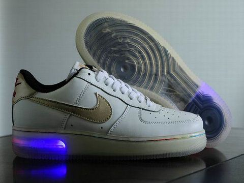 Nike Air Force One Light Up White Metallic Gold Shoes. Dont