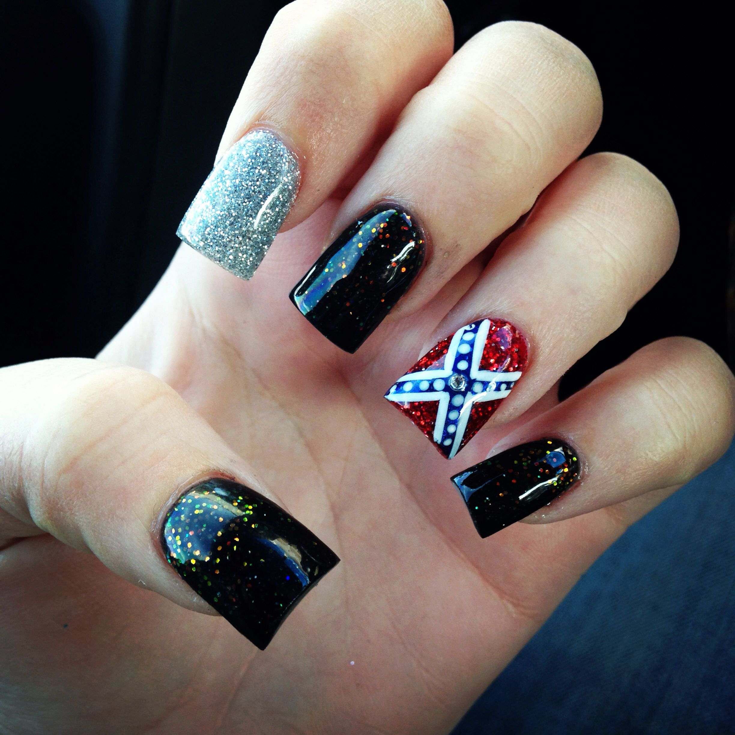 Confederate flag nails anything else pinterest flag nails the rebel flag with 13 stars but the rest of the nails solid black prinsesfo Image collections