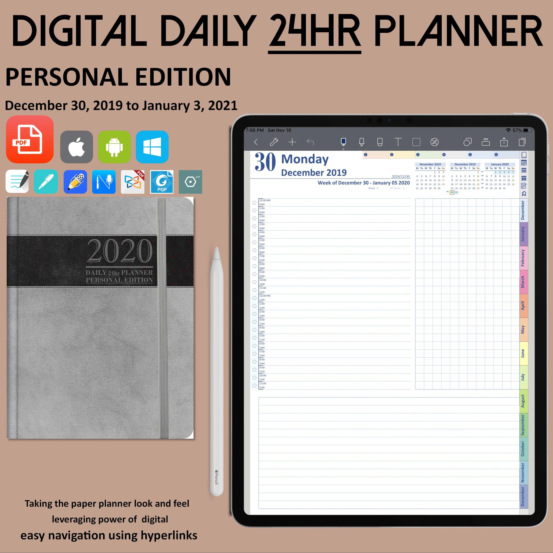 Daily 24hr Digital Planner, Notability Planner Digital