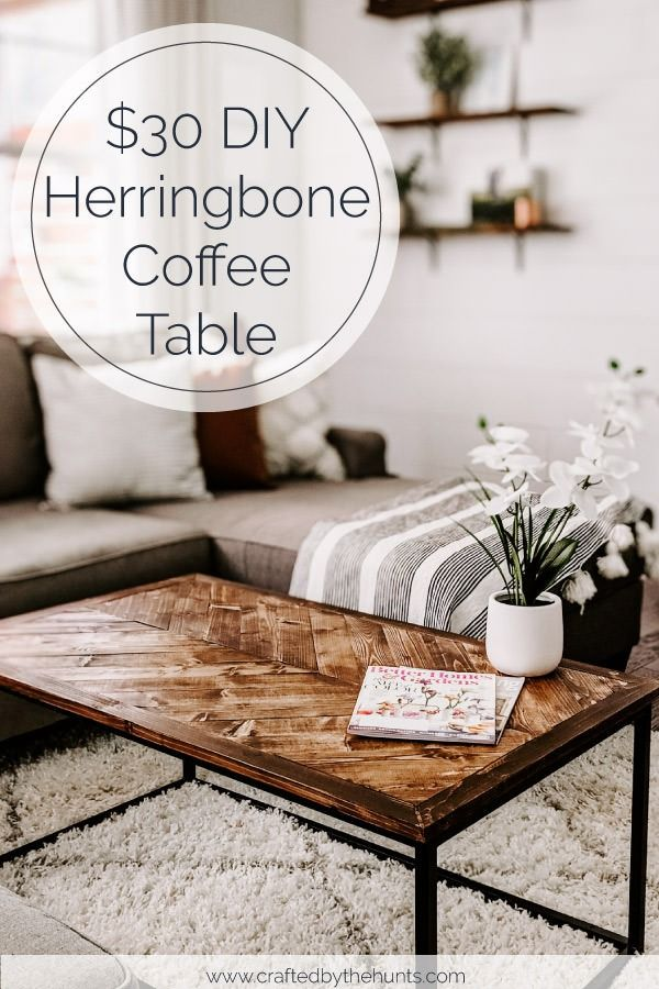 Photo of $30 DIY Herringbone Coffee Tabletop – Crafted by the Hunts