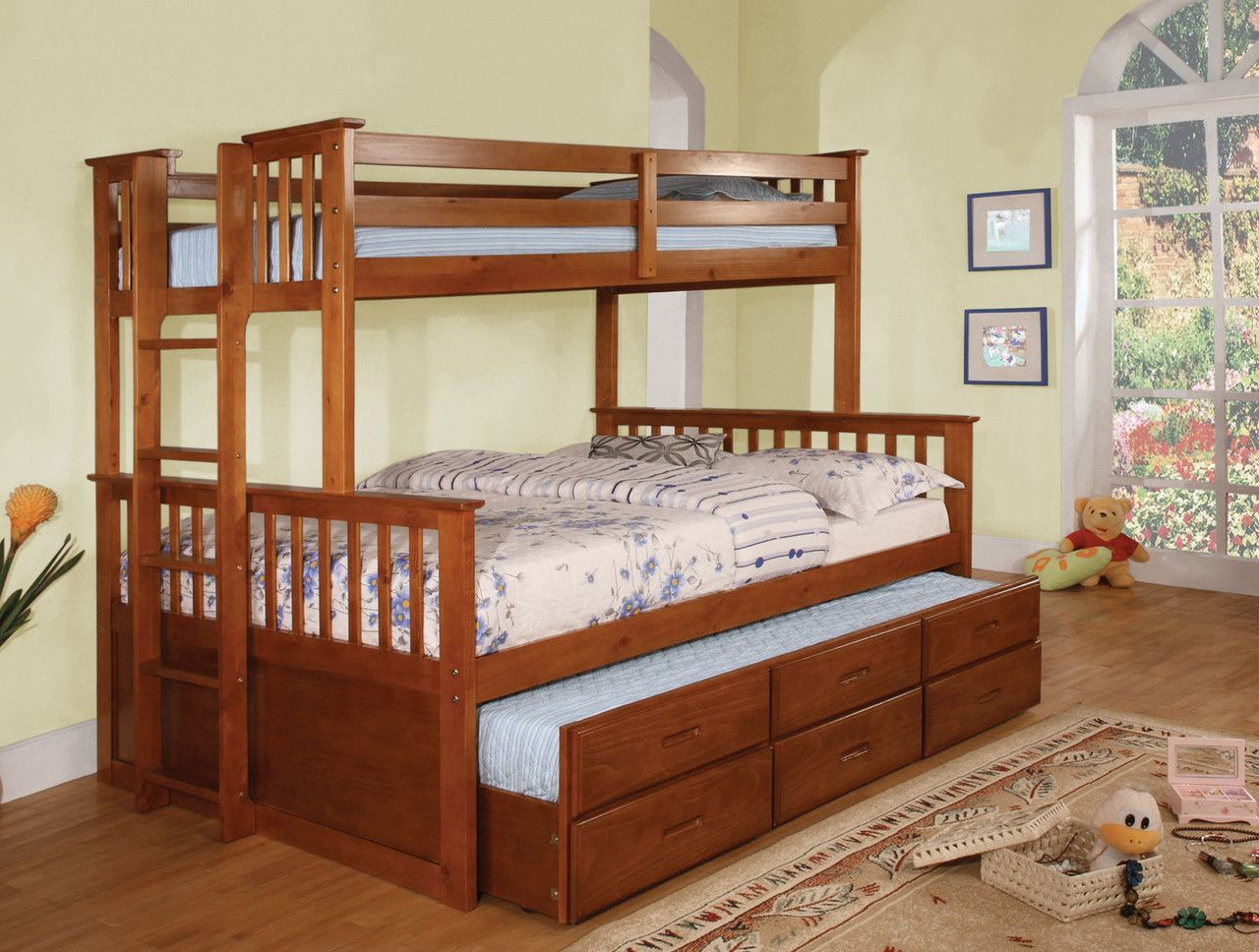 Twin Full Bunk Bed With Trundle University Collection Cm Bk458 Oak