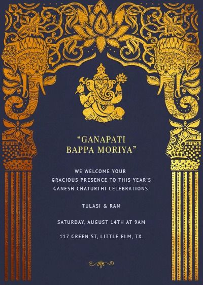Ganesh Chaturthi Vinyaka Chavithi Invitation Hindu Wedding Invitation Cards Indian Wedding Invitation Cards Online Invitation Card