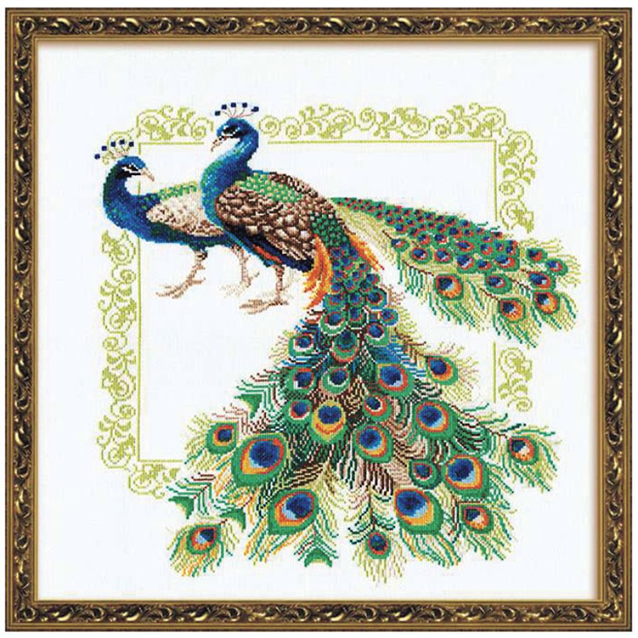 Peacocks cross stitch needlepoint embroidery kits