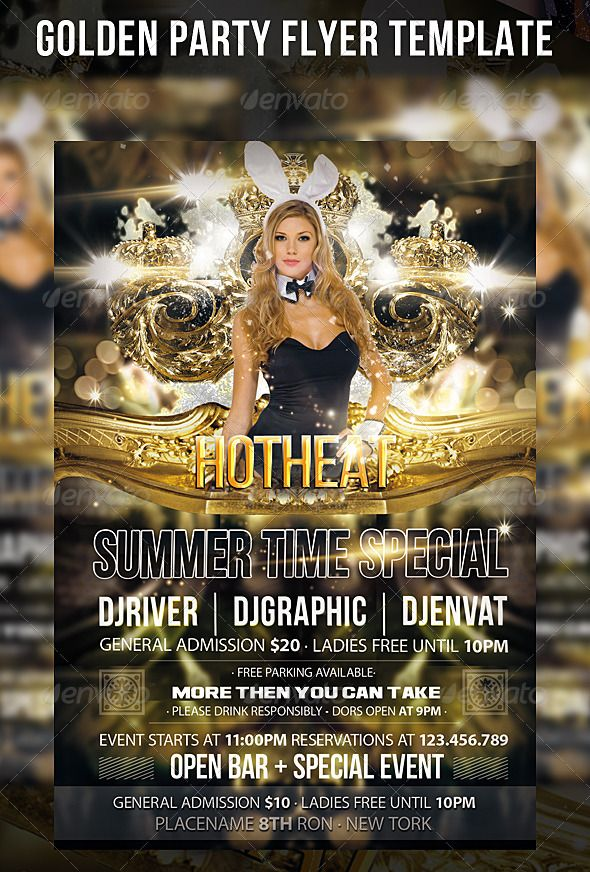 "Golden Party Flyer Template  #GraphicRiver         The PSD file is setup at 1275px x 1875px (4×6"" with .25"" bleeds) CMYK 300DPI Print Ready.  	 This pack contains 1 psd ,1 help file ,photo of model not included.  	 If you have problems with the pack contact me by comment.  	 If you like this project please rate it   	 Fonts:   	 BebasNeue  =  .dafont /bebas-neue.font  	 Myriad Pro = base font  	 Ash =  .dafont /ash.font     Created: 8October13 GraphicsFilesIncluded: PhotoshopPSD…"