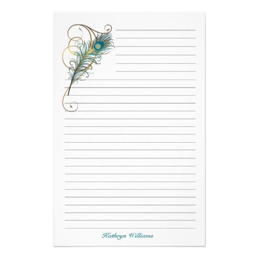 Peacock Feathered Teal And Golden Lined Stationery Zazzle Com Stationery Paper Peacock Feather Stationery