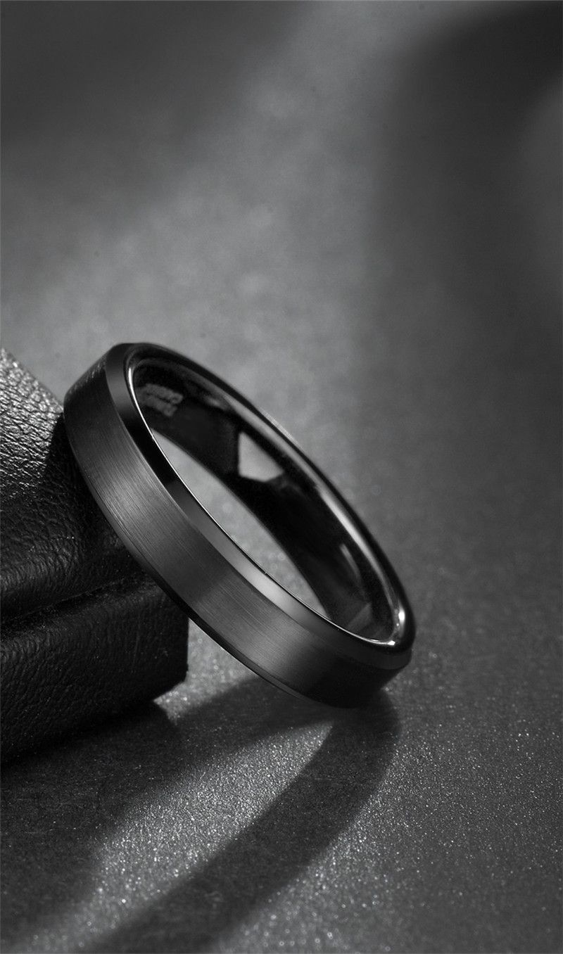 This is a picture of Black Tungsten Wedding Bands with Matte Brushed and Beveled Edges