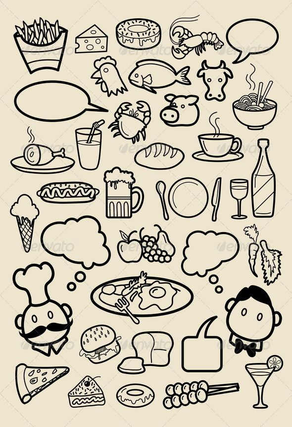Restaurant Icon Sketches GraphicRiver Food and beverage
