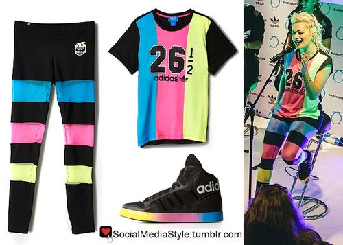 Rita Ora's Adidas Originals by Rita Ora Launch Party Colorful Boyfriend  Tee, Leggings, and Sneakers