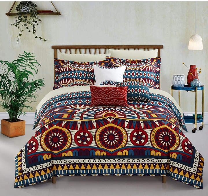 Tribal Duvet Cover Set 4 Piece Full Bedding Sets Soft Microfiber Bedspread Comforter Cover And Pillow Shams African Folkloric Tribe Round Pattern With Ethnic Colors Aztec Artwork Duvet Covers Kids Bedding