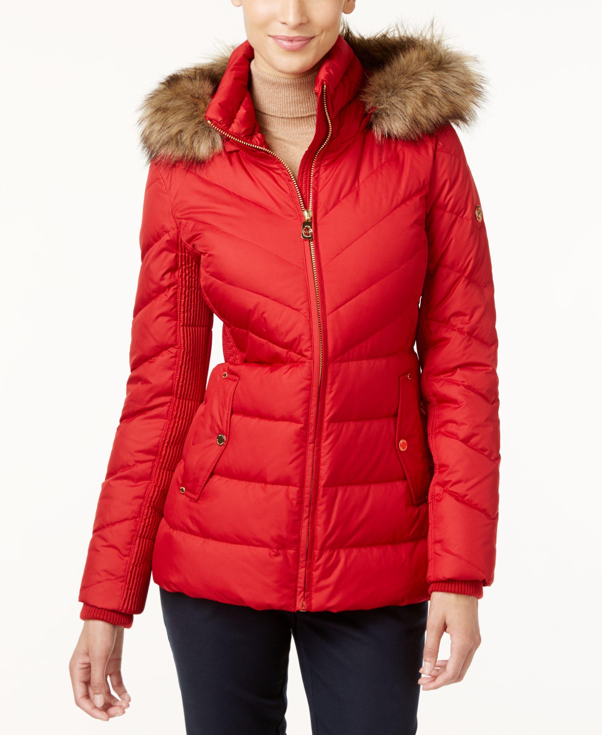 MICHAEL Michael Kors Faux-Fur-Trim Hooded Puffer Coat   Fur trim ...