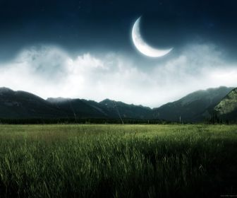 Mountains Landscapes Nature Night Moon Grass Fields Crescent Hd Wallpaper Landschafts Tapete Hintergrundbilder Natur Naturfotografie