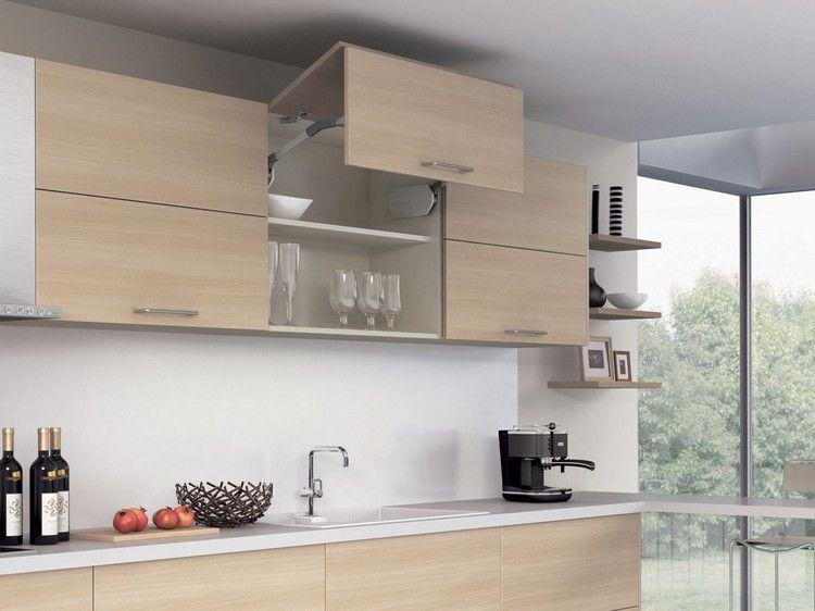 Küchenoberschrank mit Falt-Lifttüren aus Holz küche Pinterest - tuersysteme kuechenoberschraenke platzsparend