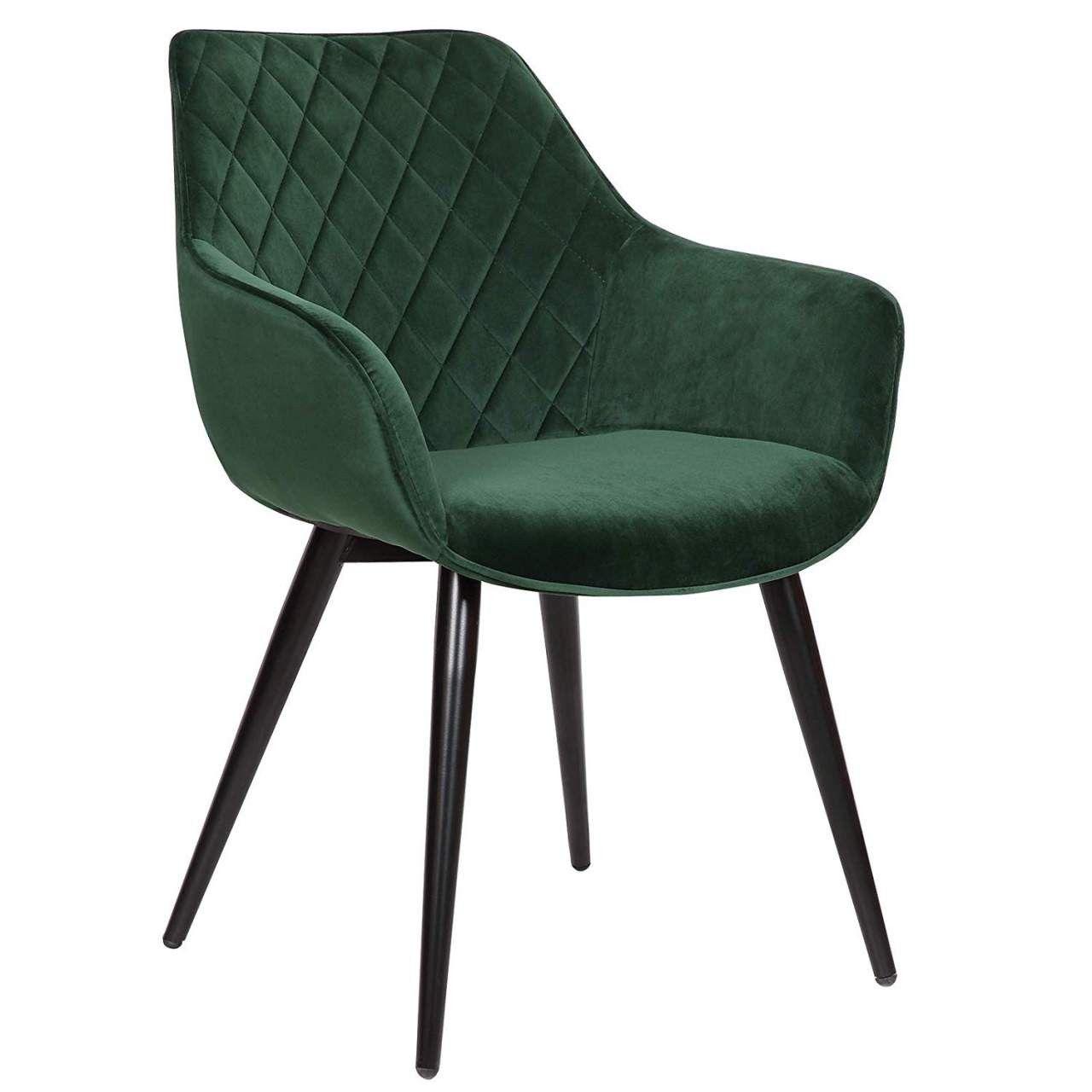 Wohnzimmerstuhl aus Samtbezug & Metall Beca : grün Farbe: grün