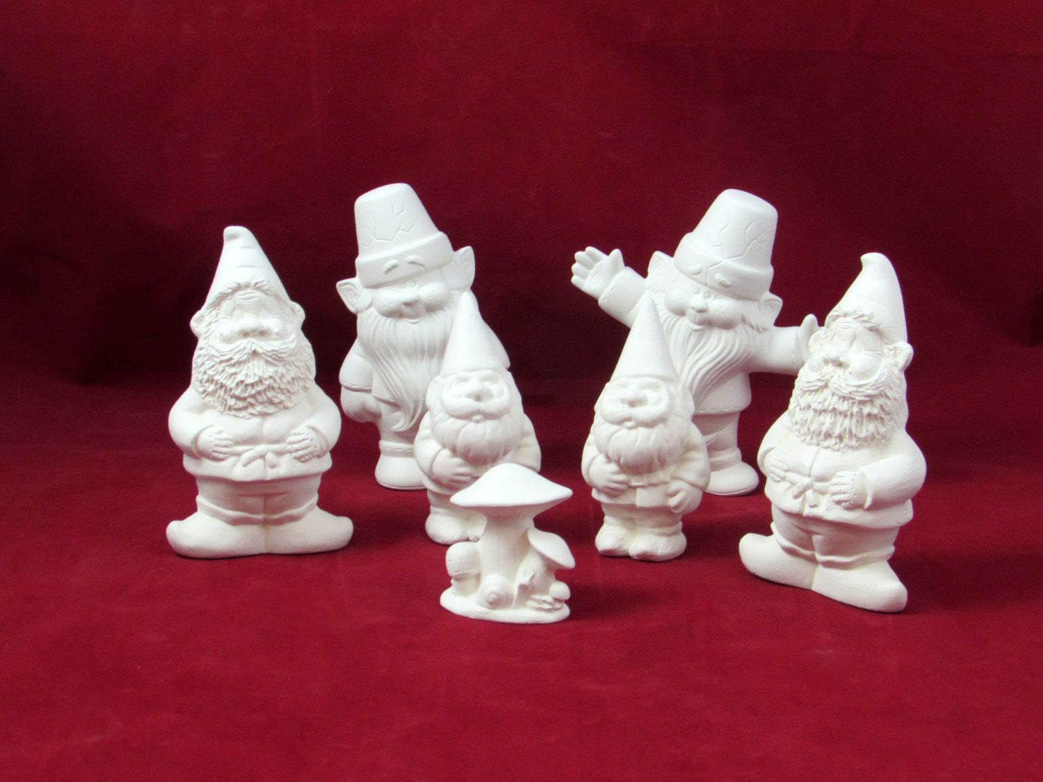 Gnome 4: Set Of Six Ready To Paint Small Male Ceramic Garden Gnomes