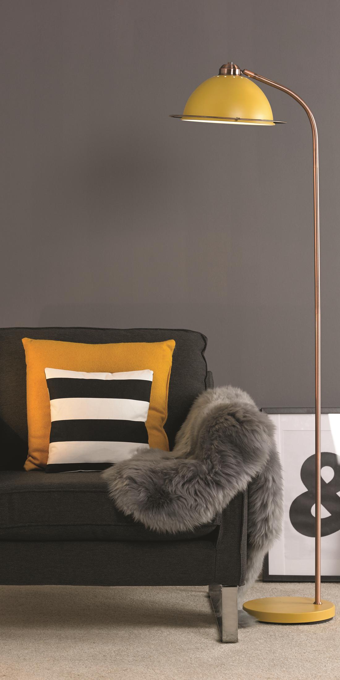 Yellow Retro Inspired Statement Metal Table Lamp Interiors