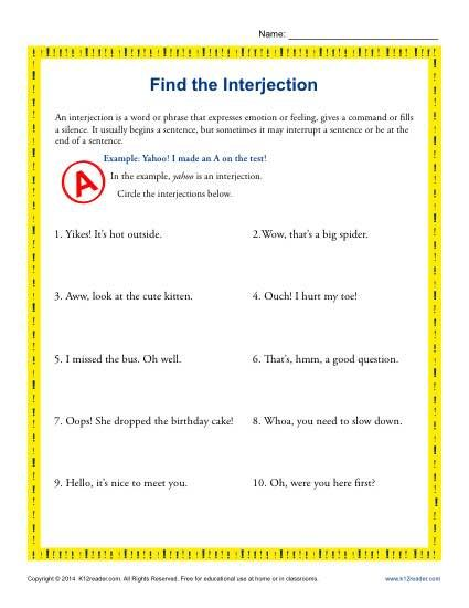 Find The Interjection 5th Grade Grammar Worksheets Grammar Worksheets Interjections 5th Grade Grammar Identifying parts of speech worksheets