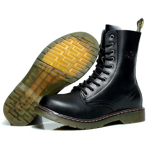 Men Black Leather Lace Up Fashion Dr. Martens Motorcycle Boots SKU-1100975