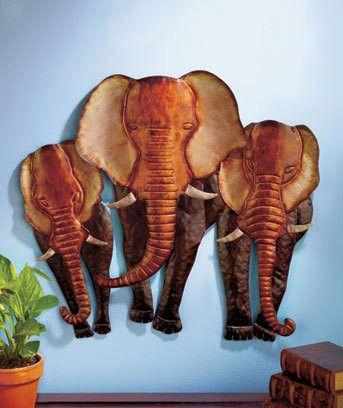 Safari Elephant Herd African Animal Hanging Metal Living Room Wall