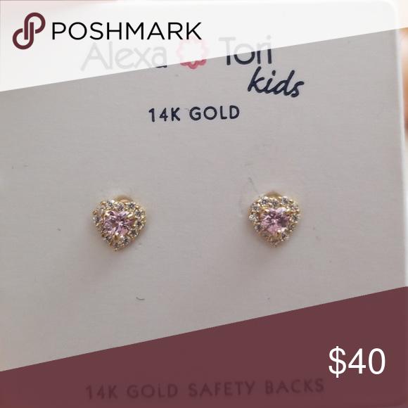 aa06ea5353d70 Precious 14k gold cz kids earrings My daughter doesn't want to wear ...