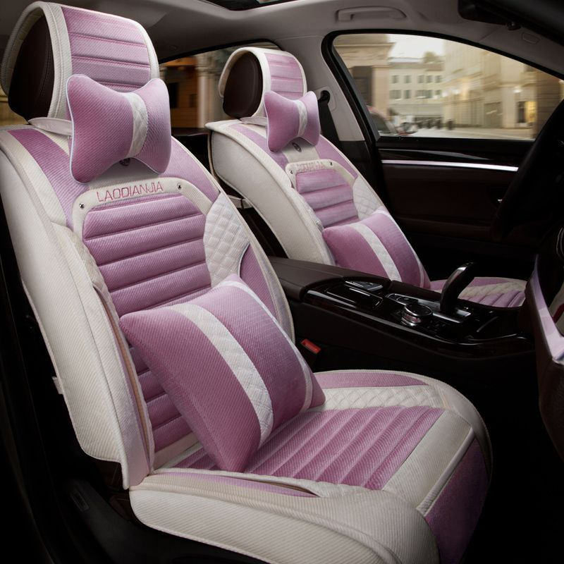 For peugeot 206 Pink seat covers girl\'s winter plush material front ...