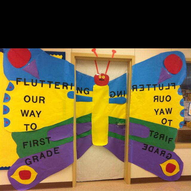 Butterfly Classroom Door Decorations ~ The very hungry caterpillar butterfly door decorations