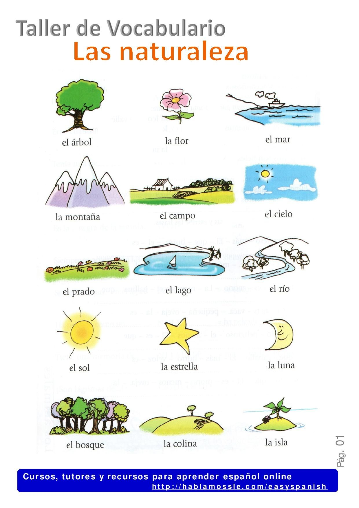 Nature In Spanish La Naturaleza Spanish Vocabulary A2