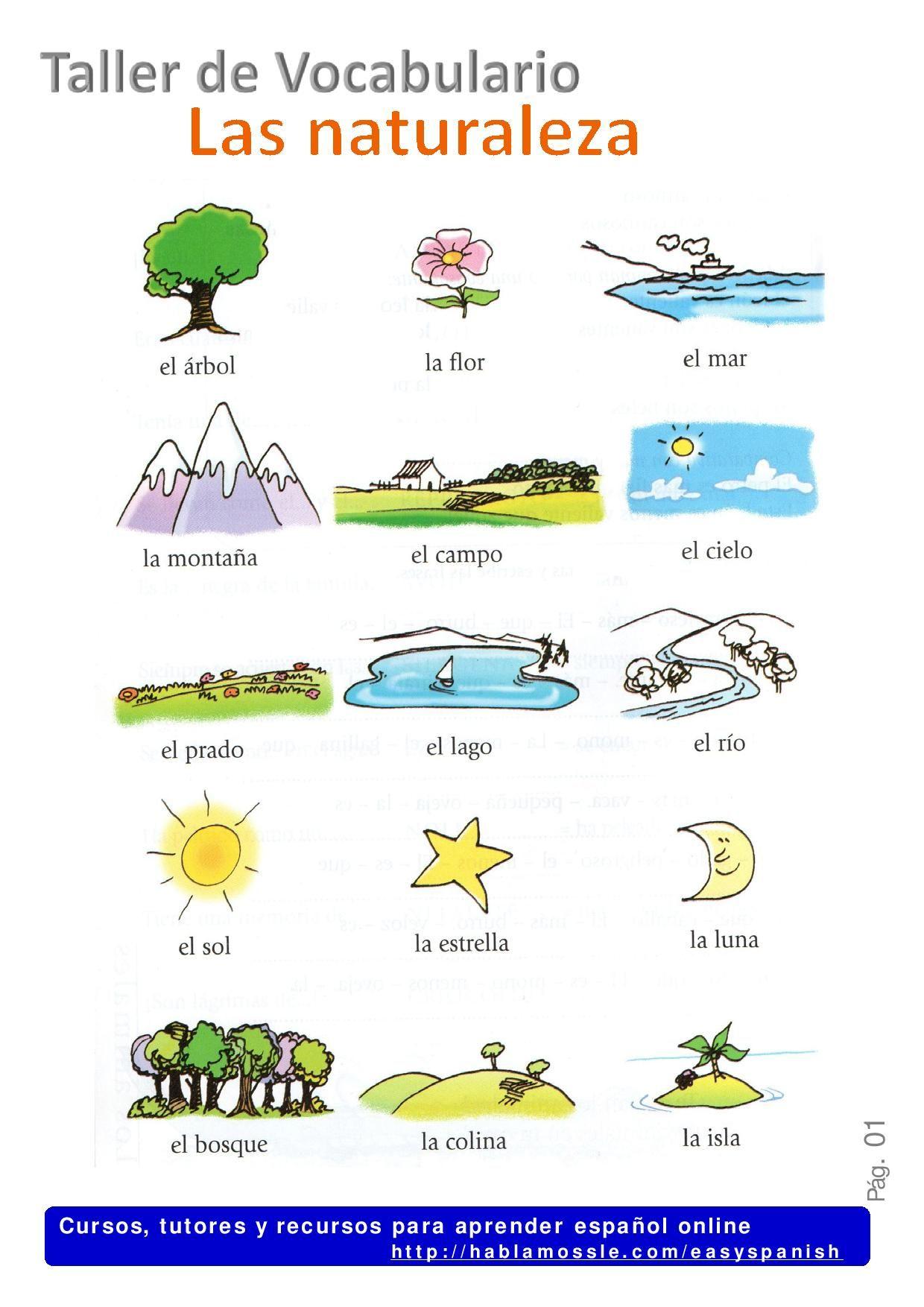 Nature In Spanish La Naturaleza Spanish Vocabulary A2