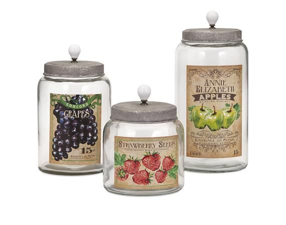 Bailey Lidded Glass Jars  Set Of 3  Farm Chic  Pinterest  Glass Entrancing Kitchen Jar Set Review