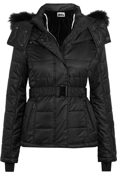 Black shell and faux fur Snap and concealed zip fastenings through front 100% polyester; trim: 81% acrylic, 19% modacrylic Machine wash