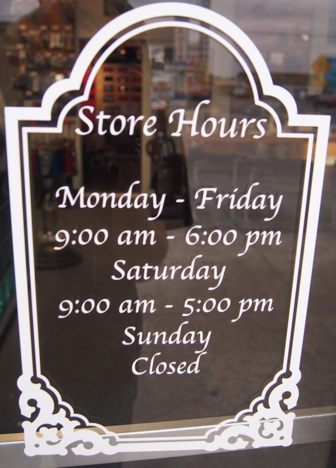 Store hours sign custom window decal by dubbyadecals on etsy megan