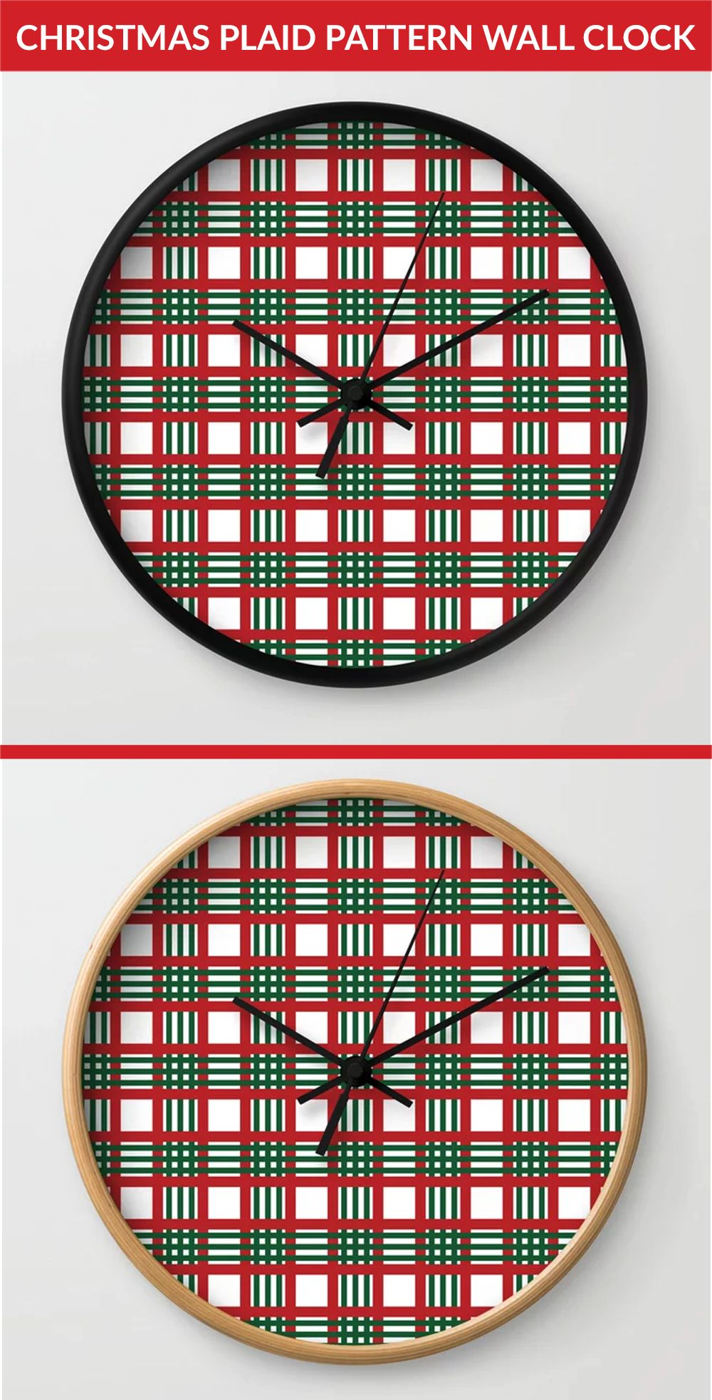 Looking for a unique wall clock? then get this Christmas plaid pattern Wall Clock. Get yours now. Click the link to buy now. #wallclock #wallclocks #clocks #Christmas #Christmasdecor #Christmasdecorations #Christmasplaidpatterrn #plaidpattern #Christmasplaid #walldecor #walldecoration