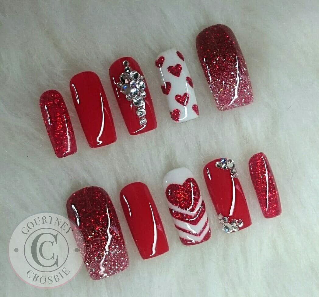 """Nail Art by Courtney Crosbie on Instagram: """"Valentines day will be here before we know it! Start planning your nails now :) #valentinesnailart #cupid #love #heartnailart #hearts…"""""""