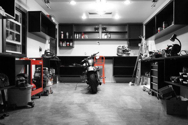 Dream Motorcycle Garages Park Your Ride In Style At Night Garage Interior Garage Decor Garage Design