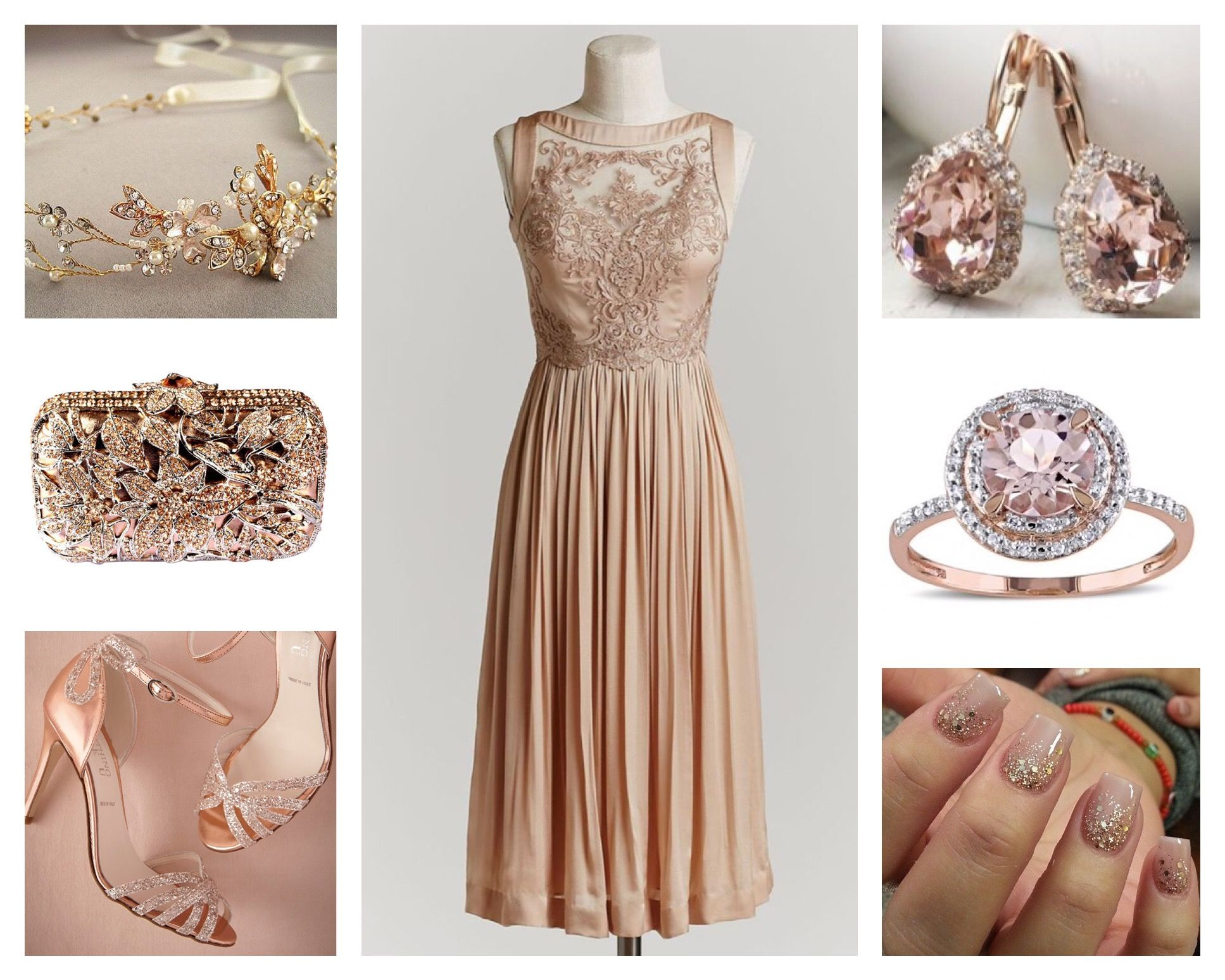 ce38d2d78c4 Blush Pink   Rose Gold Outfit - Silk and lace gown