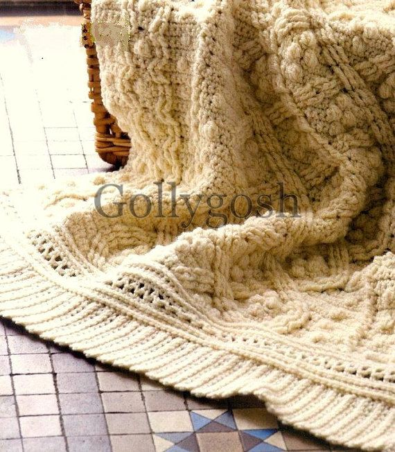 PDF Crochet Pattern for a Cabled and Textured Aran Throw - Instant ...
