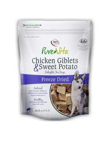 PureVita Freeze Dried Chicken Giblets Sweet Potato Recipe Delights for Dog 3z