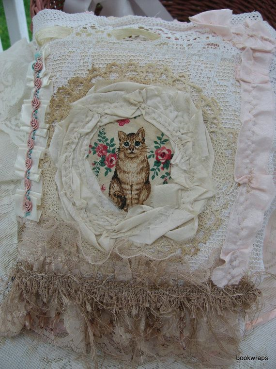 vtg recycled Fabric & Lace Journal book cat collage by BookWraps, $62.00