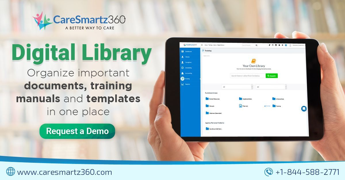 Caresmartz Digital Library #importantdocuments Managing training manuals and documents could be quite a challenging task for a #caregiver. Here's a smarter way to organize your important documents with #CareSmartz360's Digital Library.  #homecarebusiness #homecaresoftware #homecaresolution #digitallibrary #importantdocuments