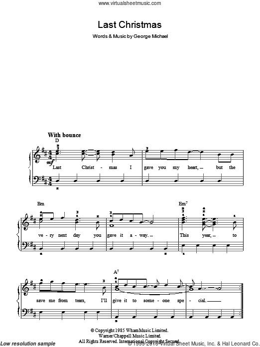 Wham Last Christmas Sheet Music For Piano Solo Chords Lyrics Melody Christmas Sheet Music Sheet Music Christmas Piano