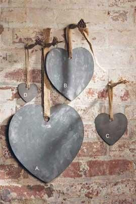 Hearts with Jute Ribbon.  Not sure what I love more the Chalkboards or the brick wall!