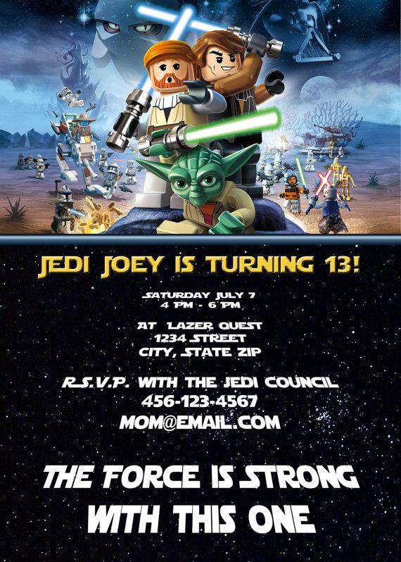 Lego Star Wars Han Solo Obi Wan Jedi Master Yoda Birthday Invitation Adorable Cool Cute Fun Customized File