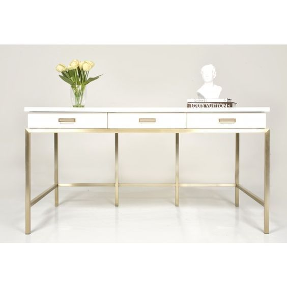 White Lacquer Desk Writing Desks Vanity With