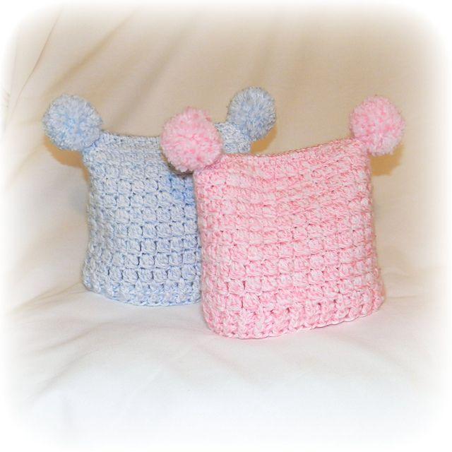 Free Crochet Square pom-pom jester hat Pattern. | Free Crochet Baby ...