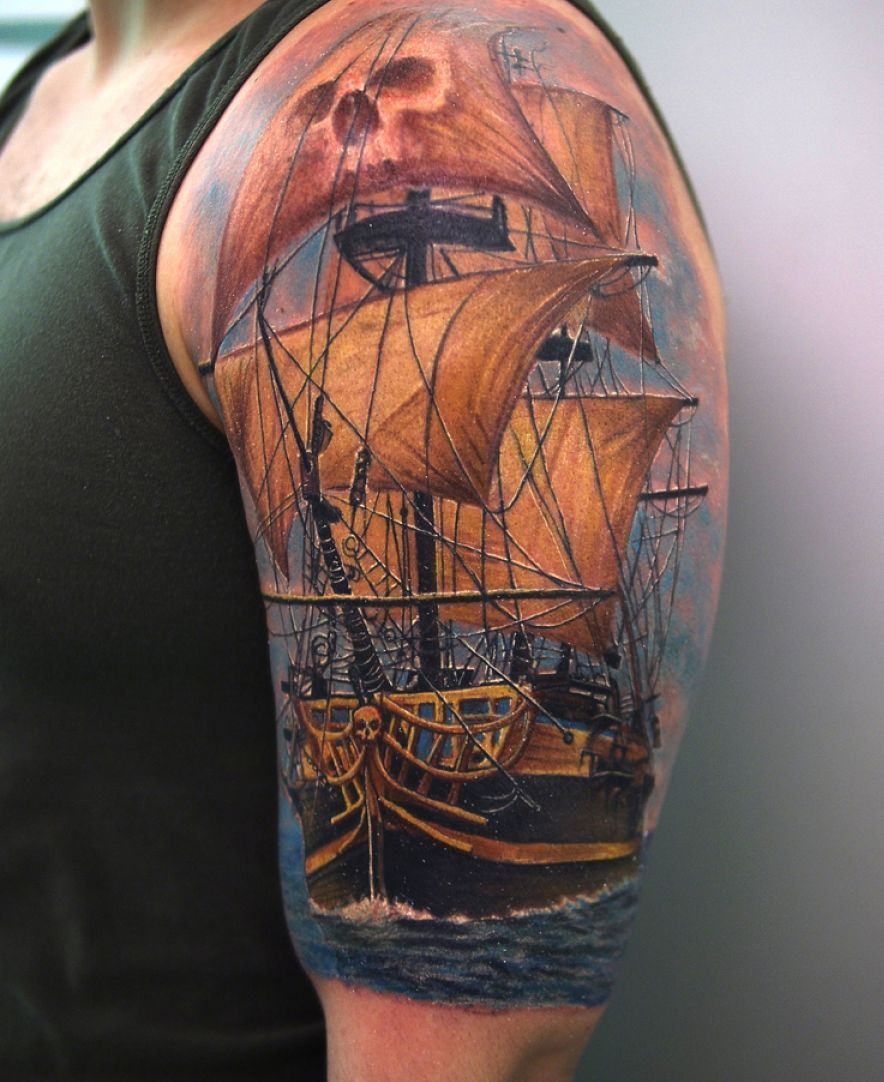 pirate tattoos awesome 3d pirate ship tattoo on left half sleeve tattoos pinterest. Black Bedroom Furniture Sets. Home Design Ideas
