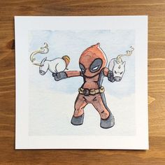 The Merc with a Mouth is letting his unicorns do the talking this weekend exclusively at #WonderCon! And you can find this adorable limited edition print at Artist Alley Table B-03! #Deadpool #unicorns #watercolor #illustration